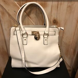 White top handle with shoulder strap